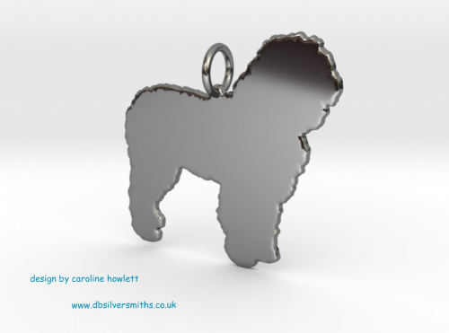 Spanish water dog charm solid sterling silver Handmade in the Uk